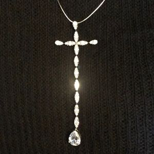 "Jewelry - GORGEOUS 5"" RHINESTONE CROSS CLEAVAGE PENDANT"